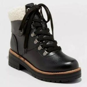 Lace Up Combat Boots Black Universal Thread Sherpa